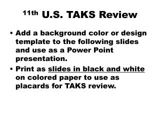 11th  U.S. TAKS Review