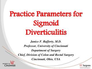 Practice Parameters for Sigmoid Diverticulitis