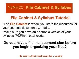 MyMHCC: File Cabinet & Syllabus