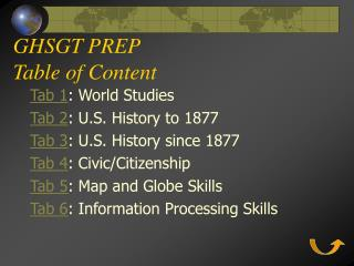 GHSGT PREP Table of Content