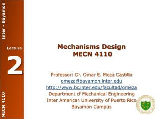 Mechanisms Design  MECN 4110