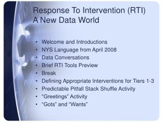 Response To Intervention (RTI) A New Data World