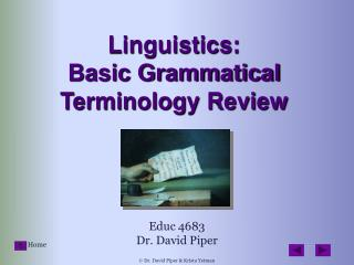Linguistics:  Basic Grammatical Terminology Review