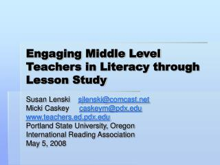 Engaging Middle Level Teachers in Literacy through Lesson Study