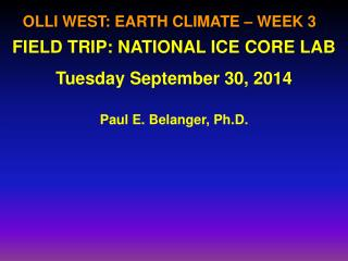 OLLI WEST: EARTH CLIMATE – WEEK 3