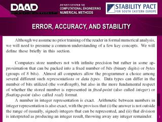 ERROR, ACCURACY, AND STABILITY
