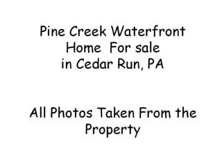 Pine Creek Waterfront Home  For sale  in Cedar Run, PA All Photos Taken From the Property