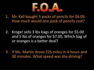 Mr. Kell bought 5 packs of pencils for $6.05. How much would one pack of pencils cost?
