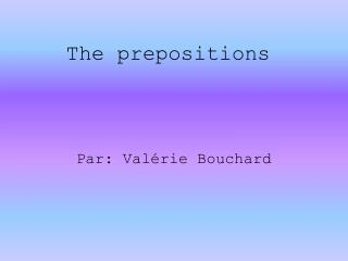 The prepositions