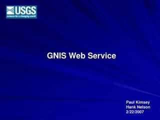 GNIS Web Service