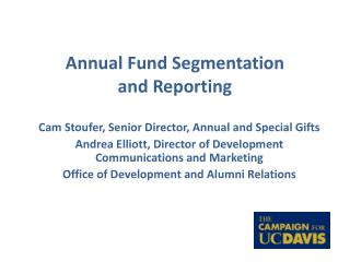 Annual Fund Segmentation  and Reporting