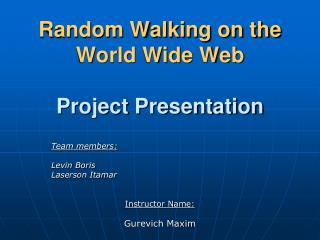 Random Walking on the World Wide Web Project Presentation