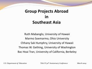 Group Projects Abroad in Southeast Asia