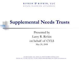 Supplemental Needs Trusts