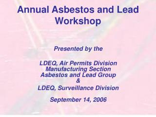 Annual Asbestos and Lead Workshop