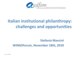 Italian institutional philanthropy:  challenges and opportunities