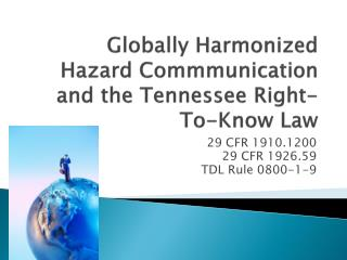 Globally Harmonized  Hazard  Commmunication  and the Tennessee Right-To-Know Law