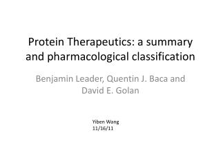 Protein Therapeutics: a summary and pharmacological classification