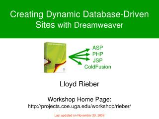 Creating Dynamic Database-Driven Sites  with Dreamweaver