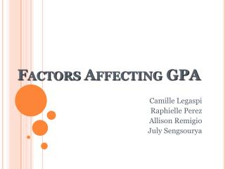 Factors Affecting GPA