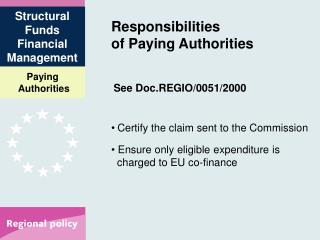Responsibilities of Paying Authorities