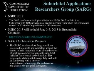 Suborbital Applications Researchers Group (SARG)