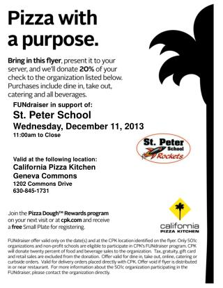 FUNdraiser in support of: St. Peter School Wednesday, December 11, 2013 11:00am to Close