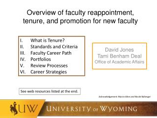 Overview of faculty reappointment, tenure, and promotion for new faculty