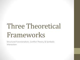 the conflict theory functionalism and symbolic interactionism sociology theories Symbolic interactionist approach the symbolic interaction approach is a micro-level approach, it views society as an ongoing process this approach asks three general questions to decide how society really is.