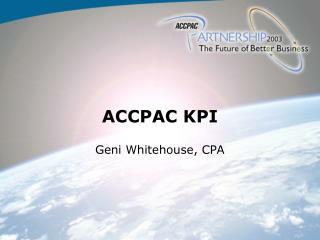 ACCPAC KPI