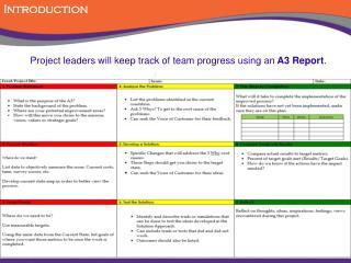 A3 Report form