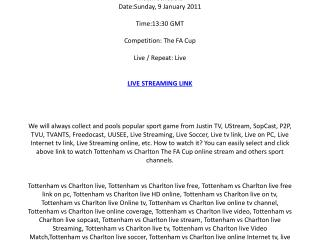 Tottenham vs Charlton live streaming online on your PC / Sun