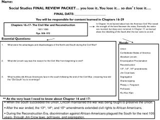 Name:  Social Studies FINAL REVIEW PACKET… you lose it.. You lose it… so don ' t lose it….