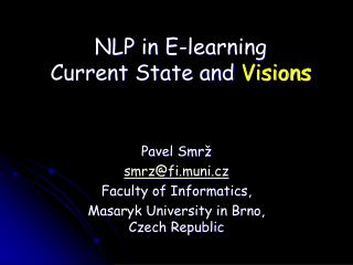 NLP in E-learning  Current State and  Visions