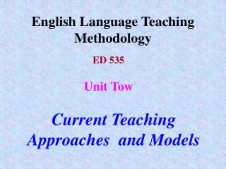 English Language Teaching Methodology