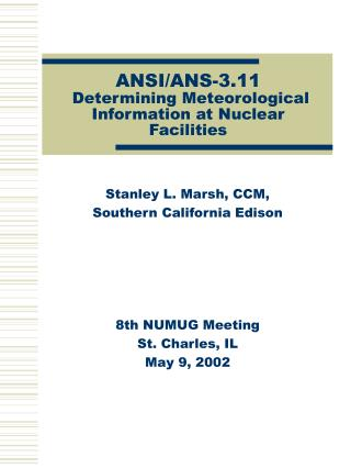 ANSI/ANS-3.11  Determining Meteorological Information at Nuclear Facilities