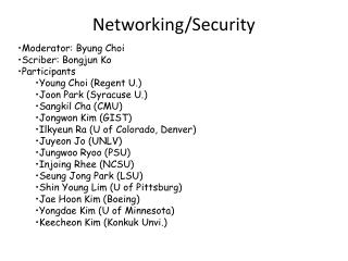 Networking/Security