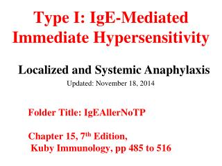 Type I: IgE-Mediated Immediate Hypersensitivity
