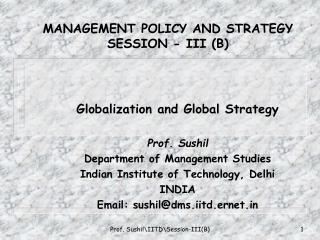 MANAGEMENT POLICY AND STRATEGY SESSION - III (B)