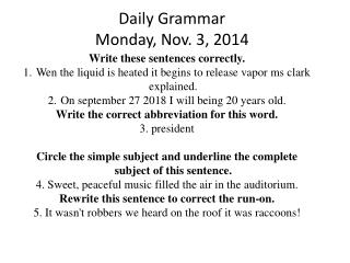 Daily Grammar Monday, Nov. 3, 2014