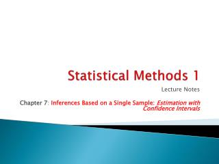 Statistical Methods 1
