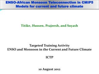 ENSO-African Monsoon  Teleconnection  in CMIP5 Models for current and future climate