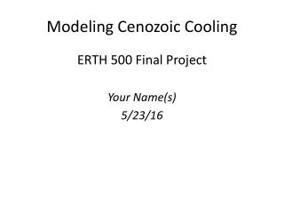 Cenozoic Cooling