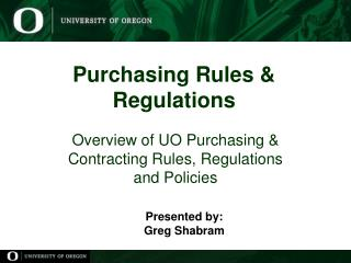 Purchasing Rules & Regulations