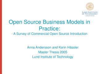 Open Source Business Models in Practice: - A Survey of Commercial Open Source Introduction