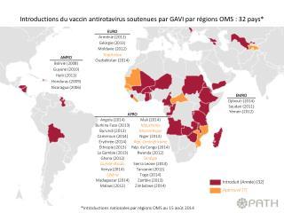 *Introductions nationales par régions OMS au 15 août 2014