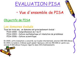 EVALUATION PISA