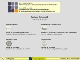 BLK – Modellvorhaben: Entwicklung eines Leistungspunktesystems an Hochschulen