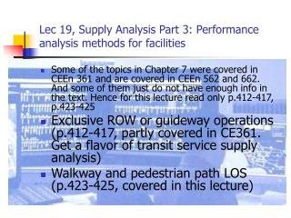 Lec 19, Supply Analysis Part 3: Performance analysis methods for facilities