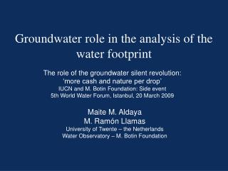 Groundwater  role  in the analysis of the  water footprint